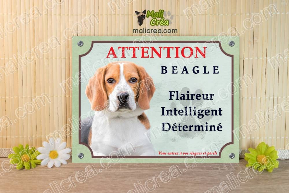 Plaque Chien Beagle et ses caractères, je monte la garde attention au chien