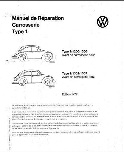manuels d'atelier VW pour VW cox combi 181 Karmann Ghia et Kubelwagen